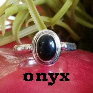 Dainty Black Onyx Ring Sterling Silver NEW